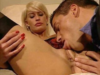 Blond in business suit slammed in her vagina