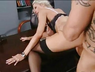 Shaved hunk with tattoos nailing busy blonde in stockings in office