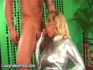 Blond lucie love in silver spandex gets fingered and licked