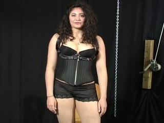 Bondage audition for plumper latin honey chick