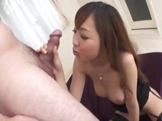 Asian MILF, Anri Hoshizaki, gives a blowjob and licks balls