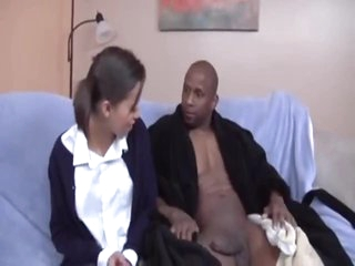 Teen cutie in pigtails sucks his big black cock