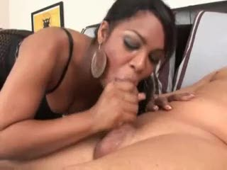 Dark girl messy deepthroat of white dick