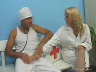 Concupiscent Blonde Nurse Gets Fucked and Jizzed in Her Mouth in White Stockings