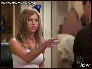 Jennifer Aniston Takes Off Her Bra With Her Shirt On and Jumps On Joey