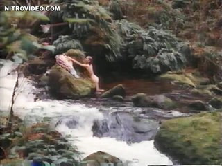 Hawt Sandra Hess Taking a Bath in a Natural Pool
