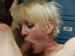 Bewitching blonde whore gobbles down a huge fuck shaft