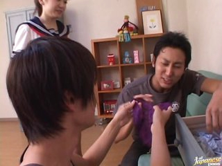 Meguru Kosaka Gets Screwed and Facialized in an After-School Three-some