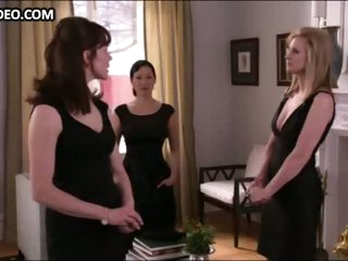 Bonnie Somerville & Three Hot Angels in Sexy Black Dresses