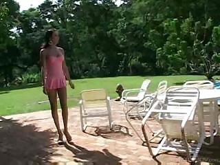 Poolside hardcore with a skilful tranny