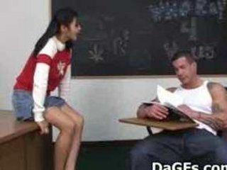 Asian schoolgirl fucked hard in classroom
