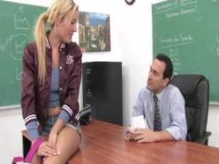 horny blonde teen facialized and a hardcore fucking session with her prof