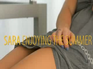 Charming blond girl enjoying summer