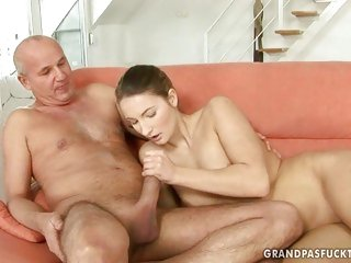 Pretty girl shows an old man what she can do with a throbbing wang