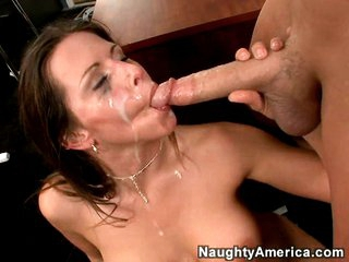 Slutty Rachel Roxx gets rocked by a dirty load of ball cream juice