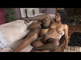 Stockings on ebony chick that takes BBC