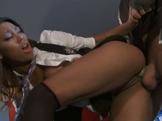 Sexy dressed ebony chick enjoys hardcore sex with hot white guy. She takes his fat dick in her dark pussy balls deep doggy style before she rides him.