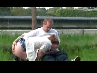 Banging his chick next to a highway