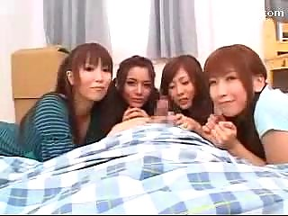 4 Girls Sucking Guys Cock Getting Pussies Licked Fingered On The Bed