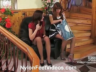 Jaclyn&Alice hot nylon feet action