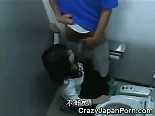 Asian Teen Jizzed in WC!