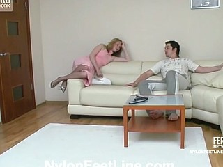 Irene&Adam nylon footsex movie scene
