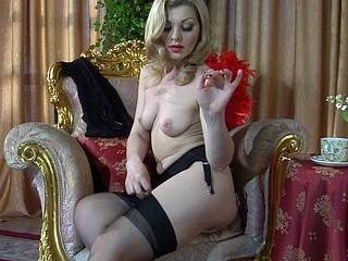 Ninette showing her nylons