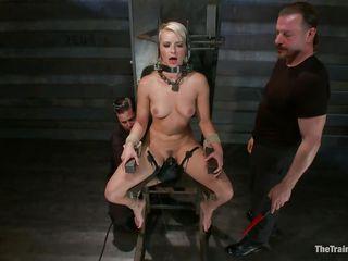 blonde in bondage device receives harsh treatment
