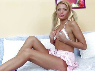 pony tails blonde teen and her pink sextoy