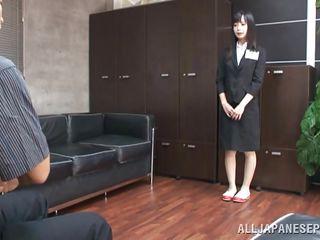 asian teen kneels in front of the cock!