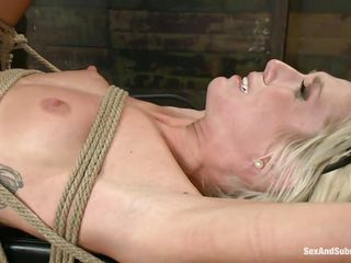 blonde girl tied on table, fingered and fucked