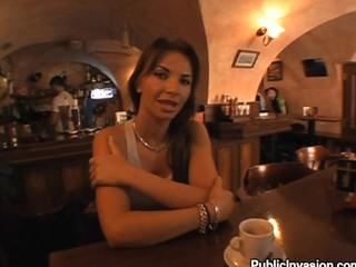 Brunette at bar talks about sex for cash money