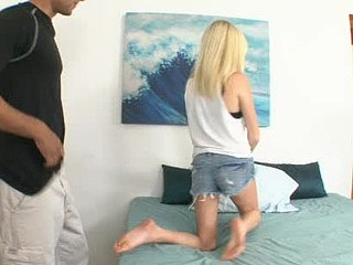 Pretty Elaina just likes making her soft-pedal Kade sweat. And that babe knows that no thing drives Kade up a wall faster than seeing his petite wife get treated life the cum-hungry slut this babe is. This afternoon, Elaina wants Kade to sit down, to watc