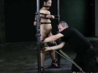 Disobedient trull with huge melons is being tortured in a sexual way