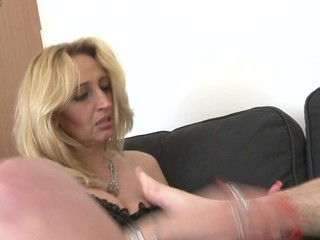 One older slut is getting abused by this nasty guy playing hard