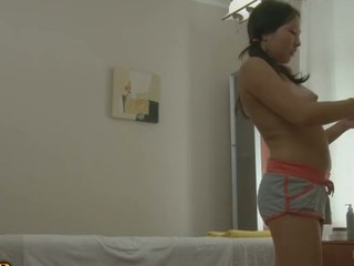 Oriental chick gets a massage and a creampie in HD movie