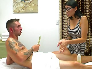 Hot as hell masseuse sits on the dick and rides like a slut