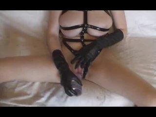Latex gloves girl masturbates and fucks