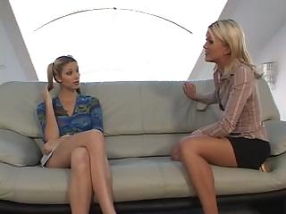 Experienced whore teaches a young girl elementary behavior with studs