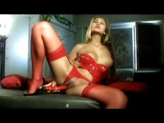 Hawt as hell in red latex lingerie set